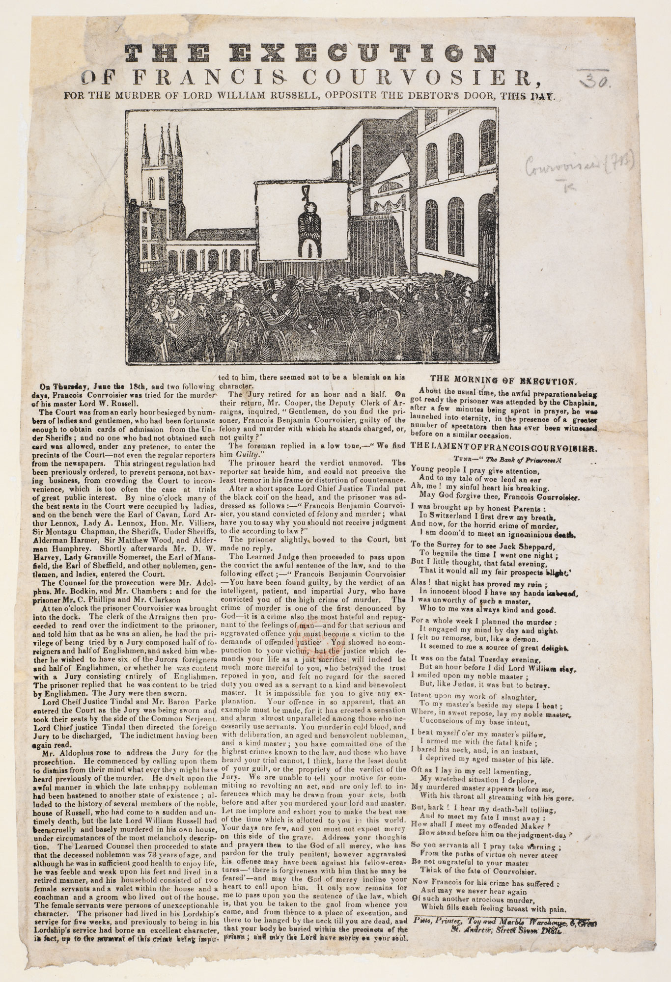 Broadside: The Execution of Francis Courvoisier [page: single sheet]