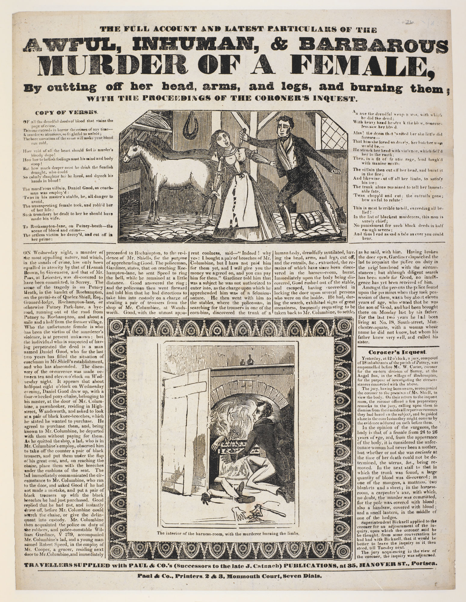 Broadside: The full account and latest particulars of the awful, inhuman, & barbarous murder of a female [page: single sheet]