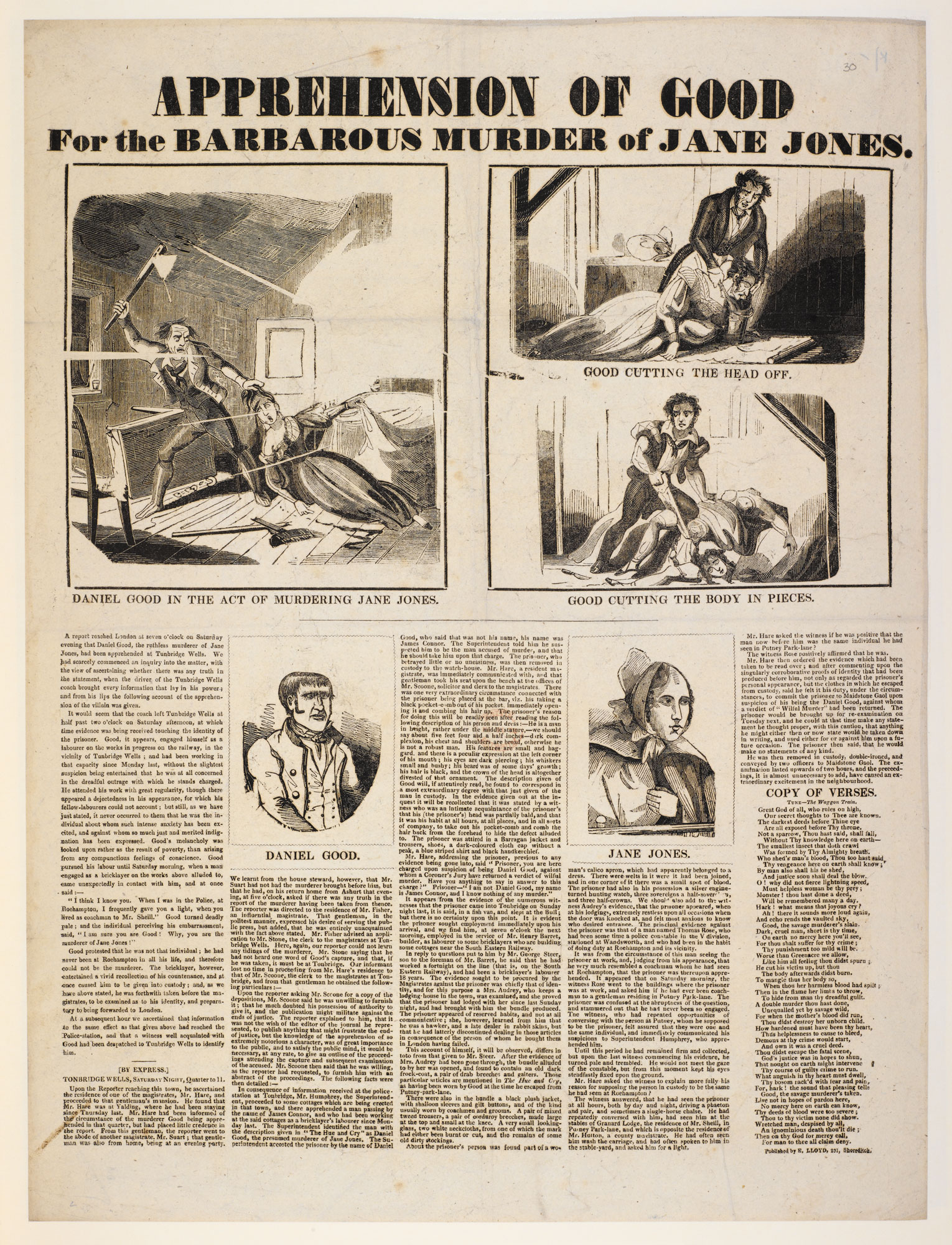 Broadside: Apprehension of Good for the barbarous murder of Jane Jones [page: single sheet]