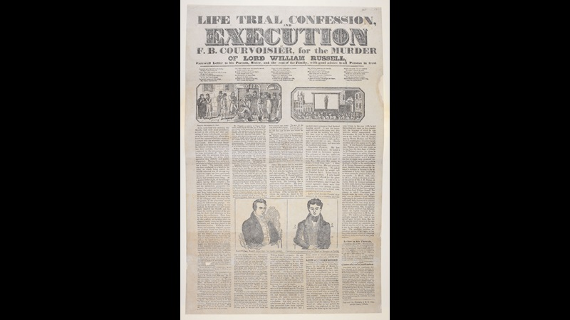 Broadside: Life trial confession, and execution of F.B. Courvoisier [page: single sheet]