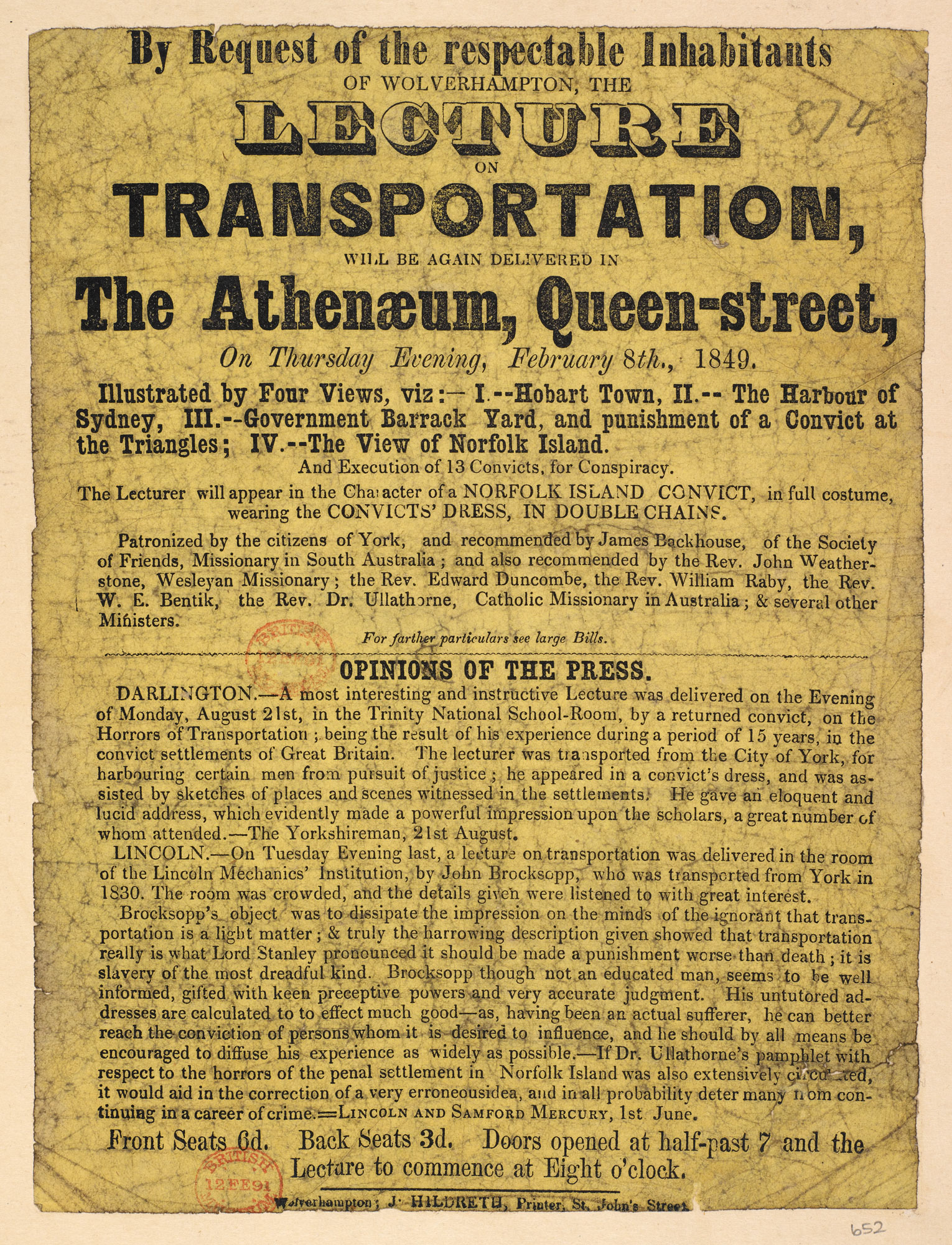 Broadside: A lecture on transportation [page: single sheet]