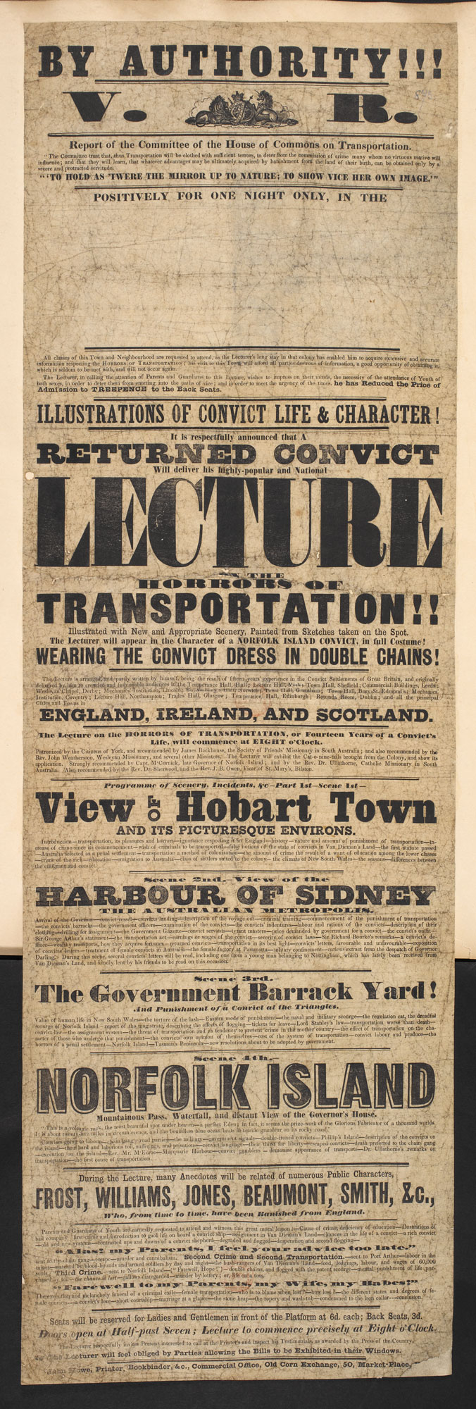 Broadside: A lecture on the horrors of transportation [page: single sheet]