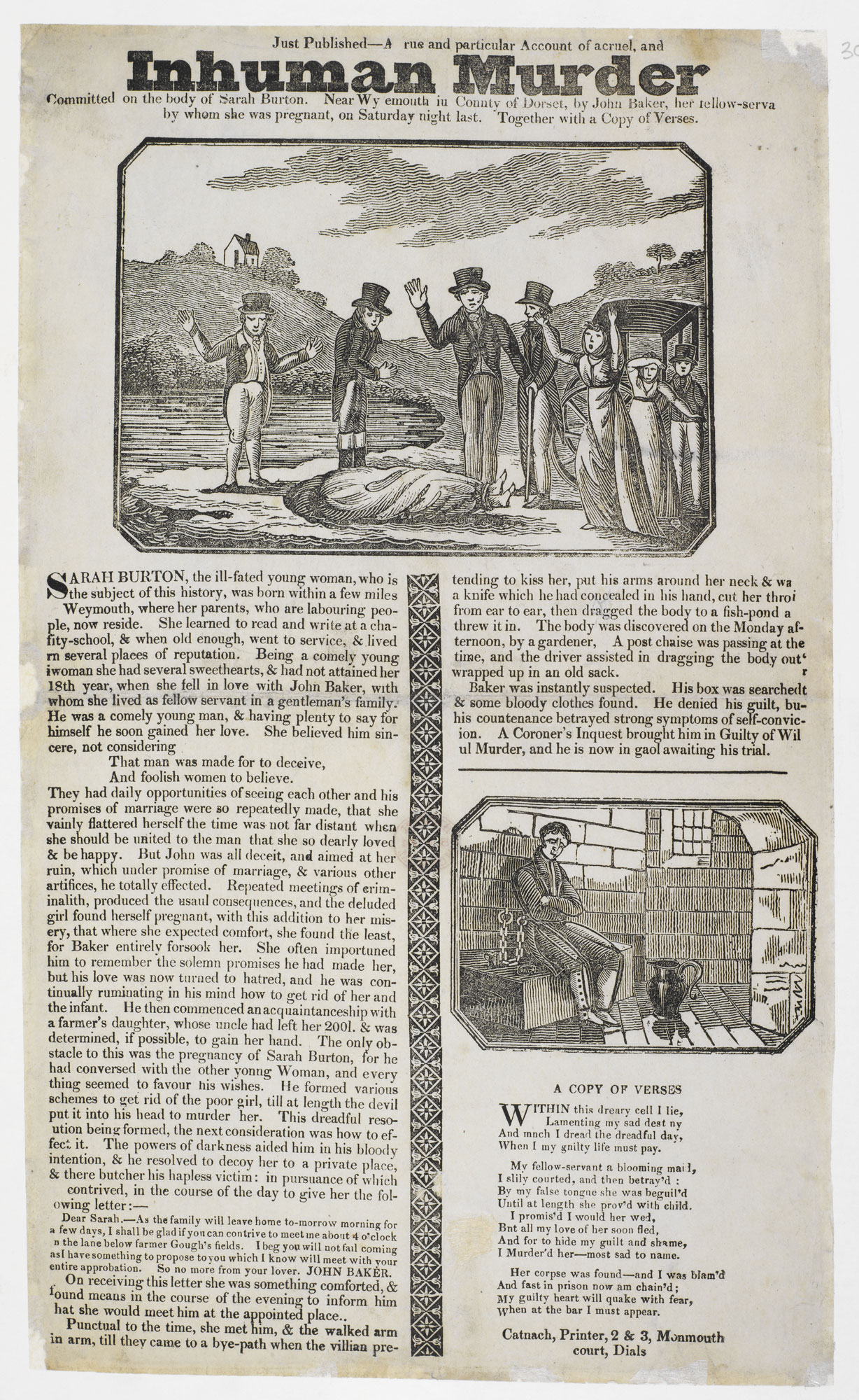 Broadside: Account of a cruel and inhuman murder [page: single sheet]