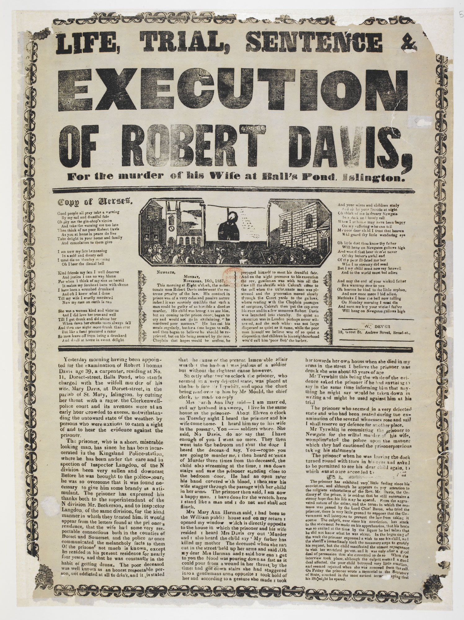 Broadside: Life, trial, sentence and execution of Robert Davis [page: single sheet]