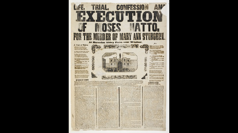 Broadside: Life, Trial, Confession and Execution of Moses Hatto [page: single sheet]