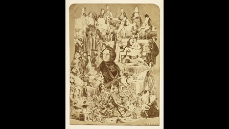 Charles Dickens surrounded by illustrated characters from his books
