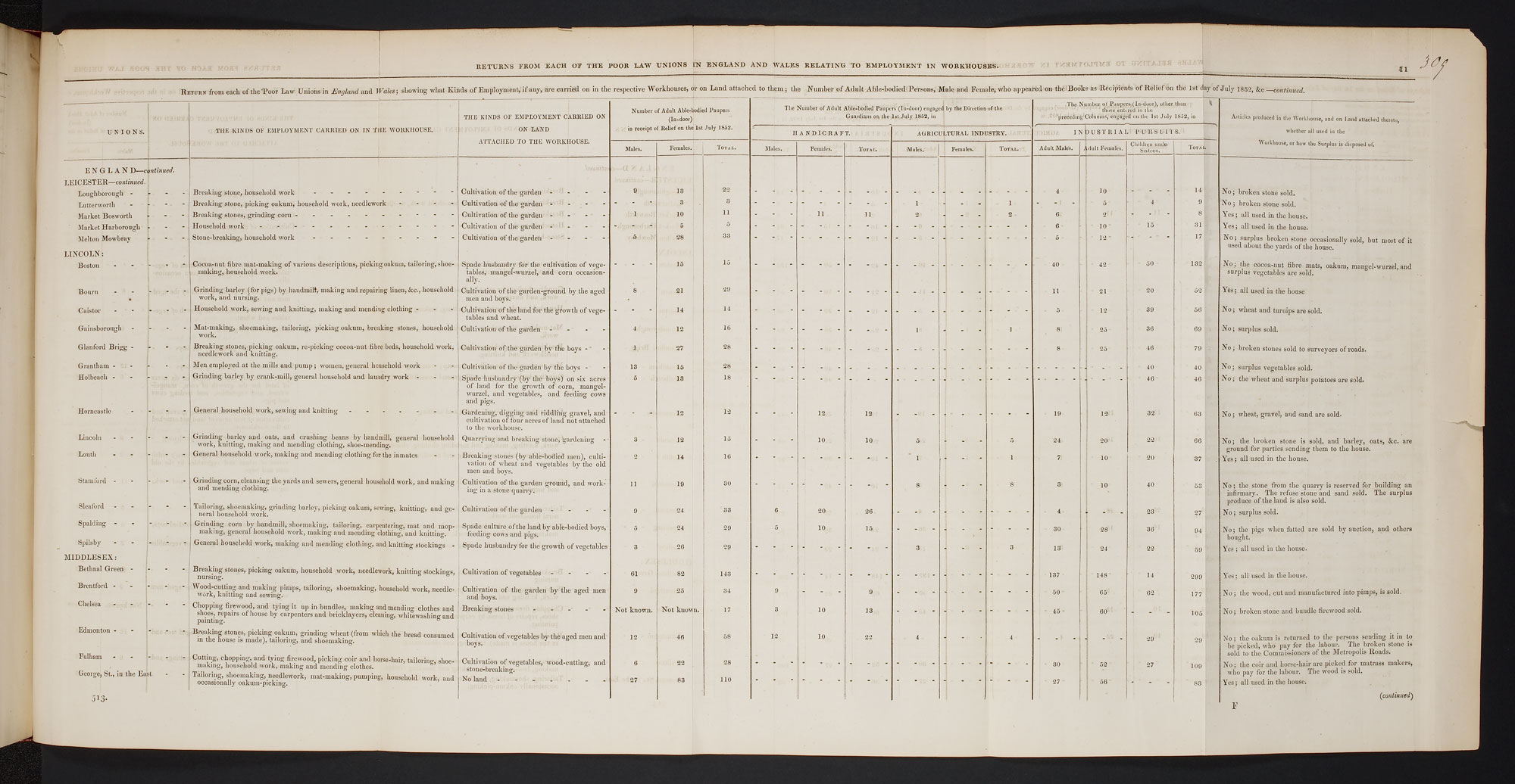 Chart listing workhouse tasks in 1852 [page: 309]