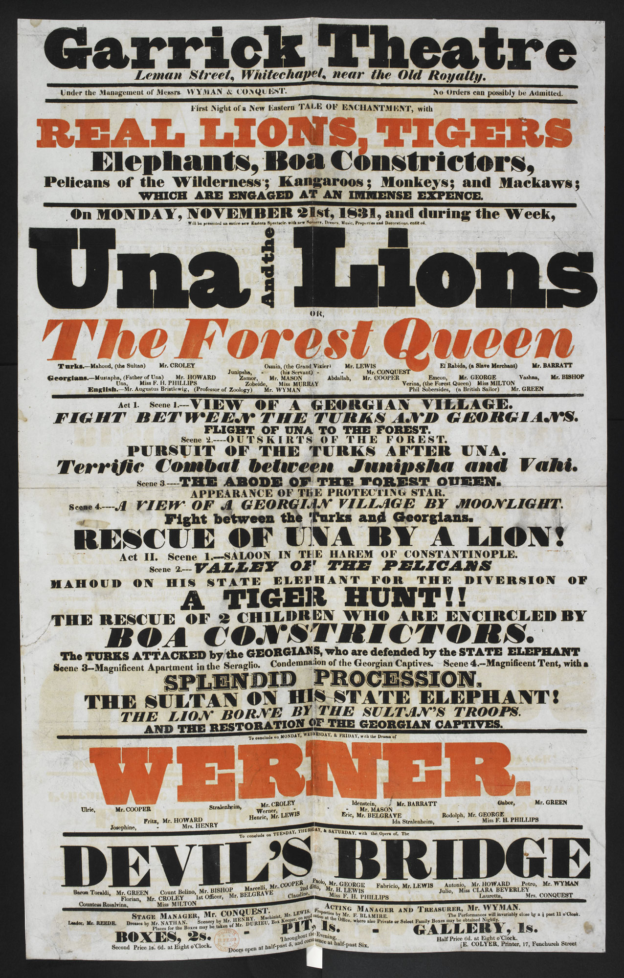 Circus poster: Una and the Lions [page: single sheet]