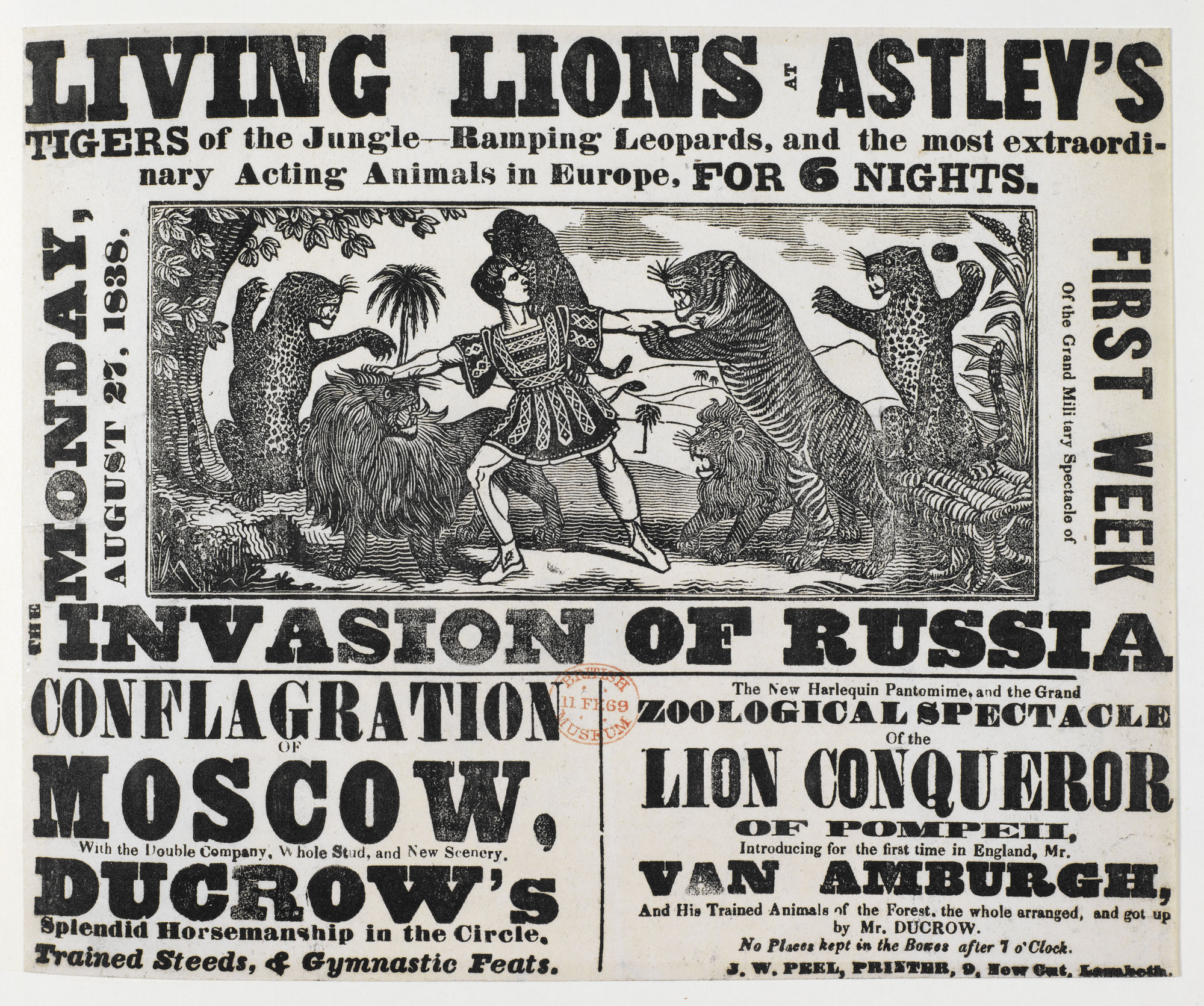 Circus poster: Living Lions at Astley's [page: single sheet]