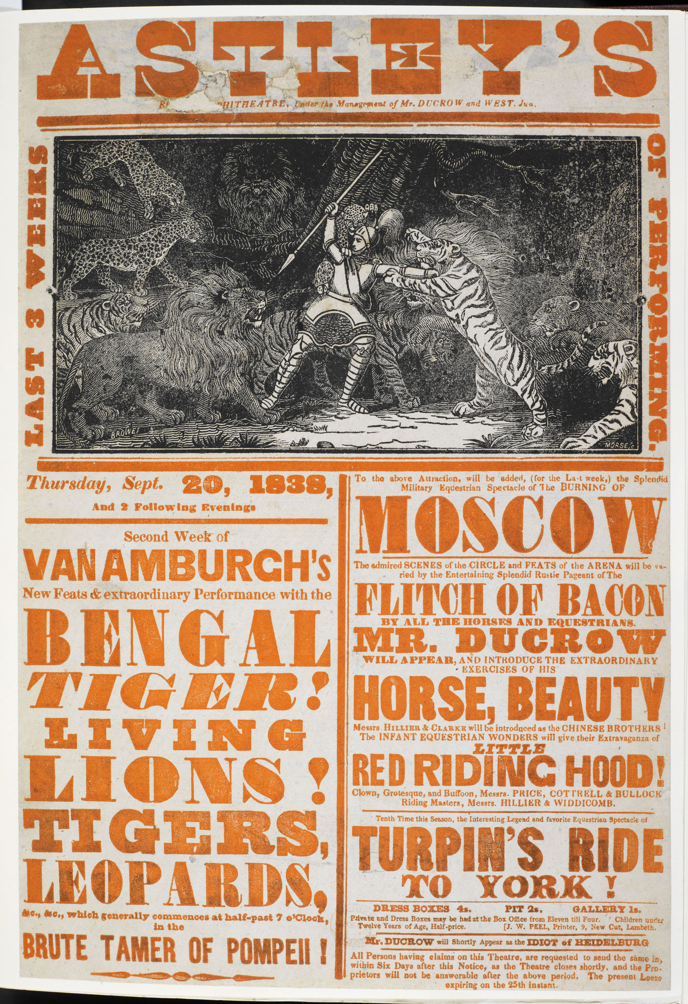 Circus poster: Second Week of Van Amburgh's [page: single sheet]