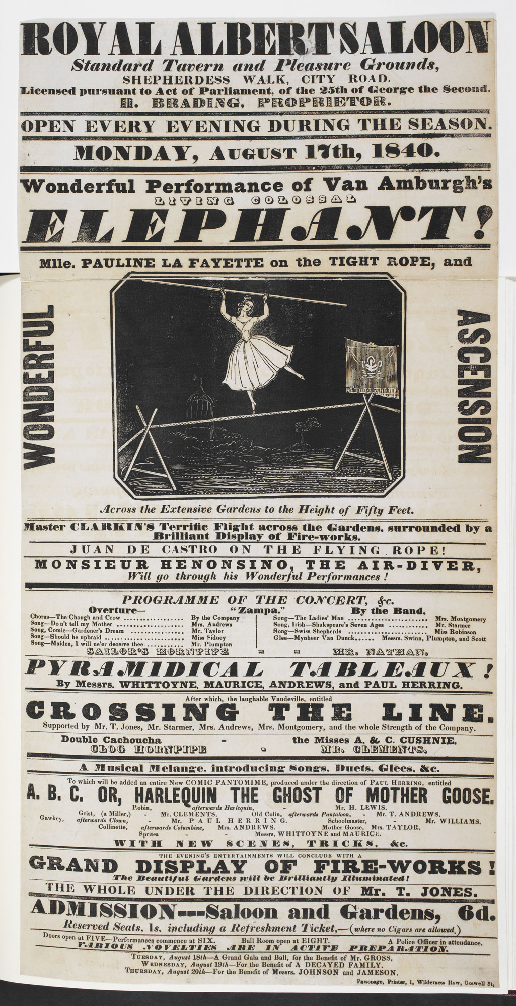 Circus poster: Mlle. Pauline Lafayette on the Tight Rope [page: single sheet]