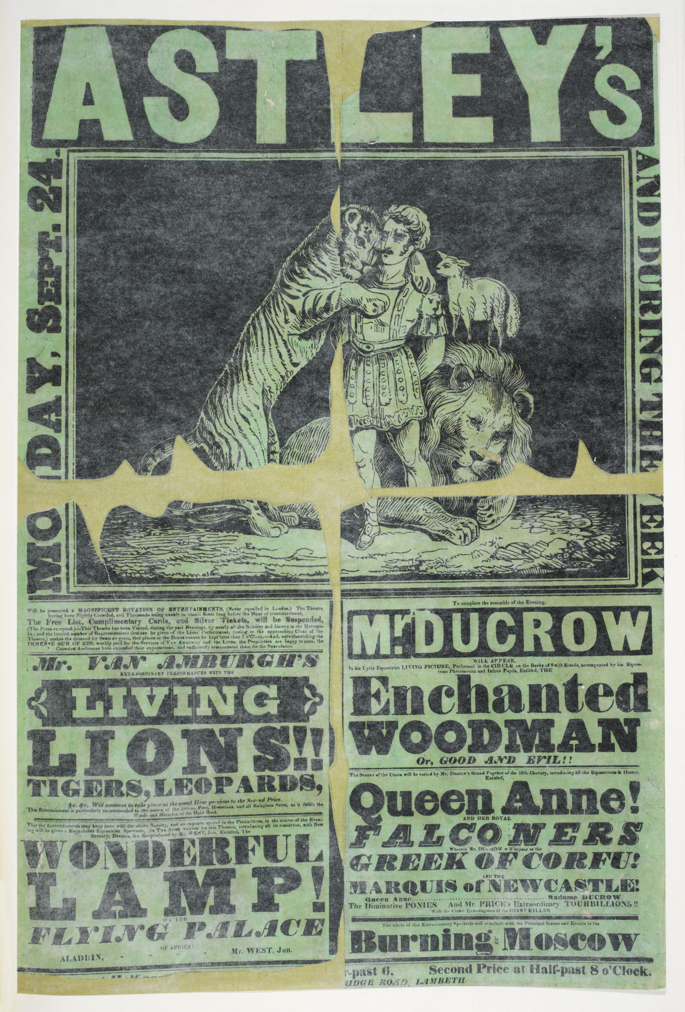 Circus poster: Astley's: Monday, Sept. 24 and during the week [page: single sheet]