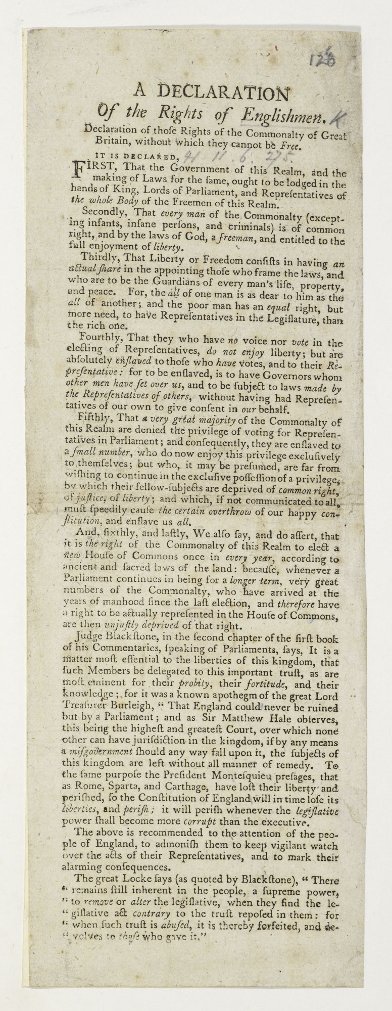 A declaration of the rights of Englishmen [page: single sheet]