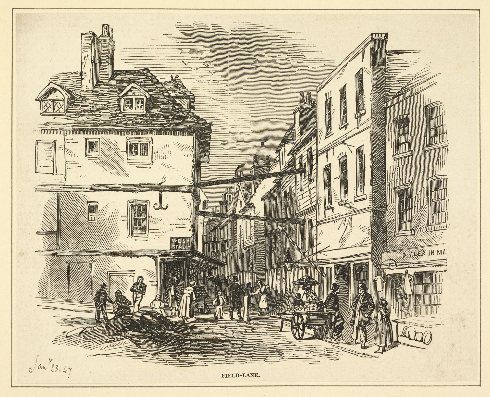 Engraving of Field Lane from 1847 [page: 163]