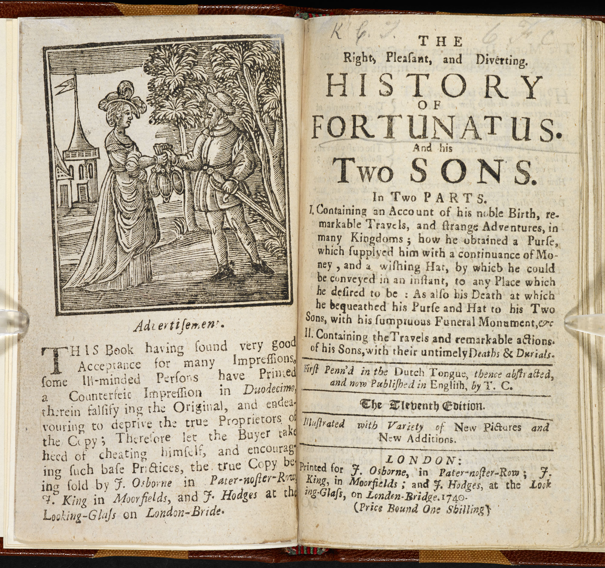 The History of Fortunatus [page: frontispiece and title page]