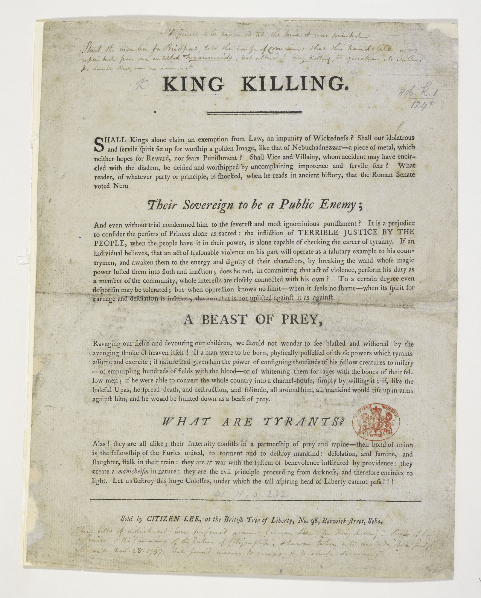 King Killing [page: single sheet]