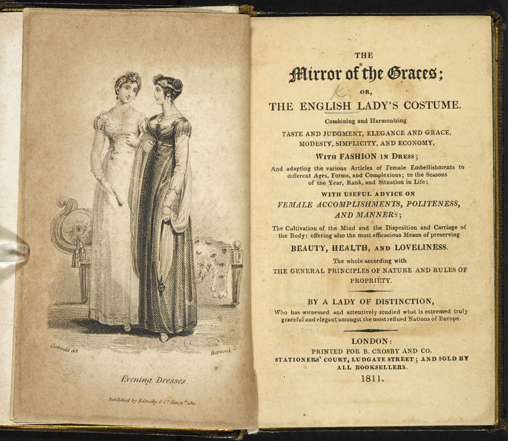 The Mirror of the Graces: fashion and beauty manual [page: frontispiece and title page]