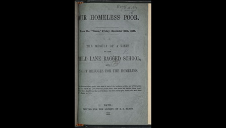Newspaper report on a visit to the Field Lane ragged school [page: front cover]