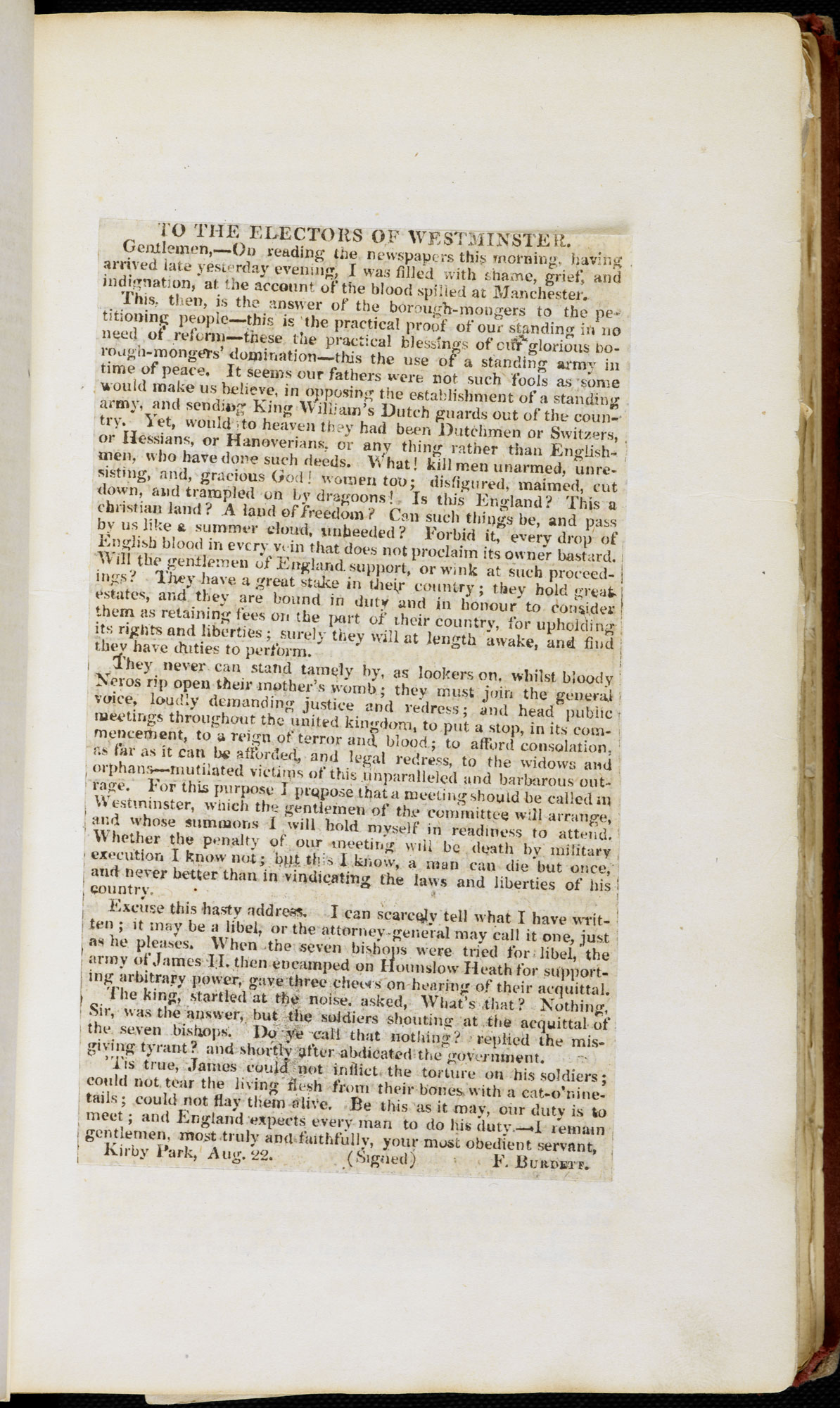 Newspaper cuttings of letters relating to the Peterloo Massacre [page: pasted at end of pamphlet ['To the electors of Westminster']]