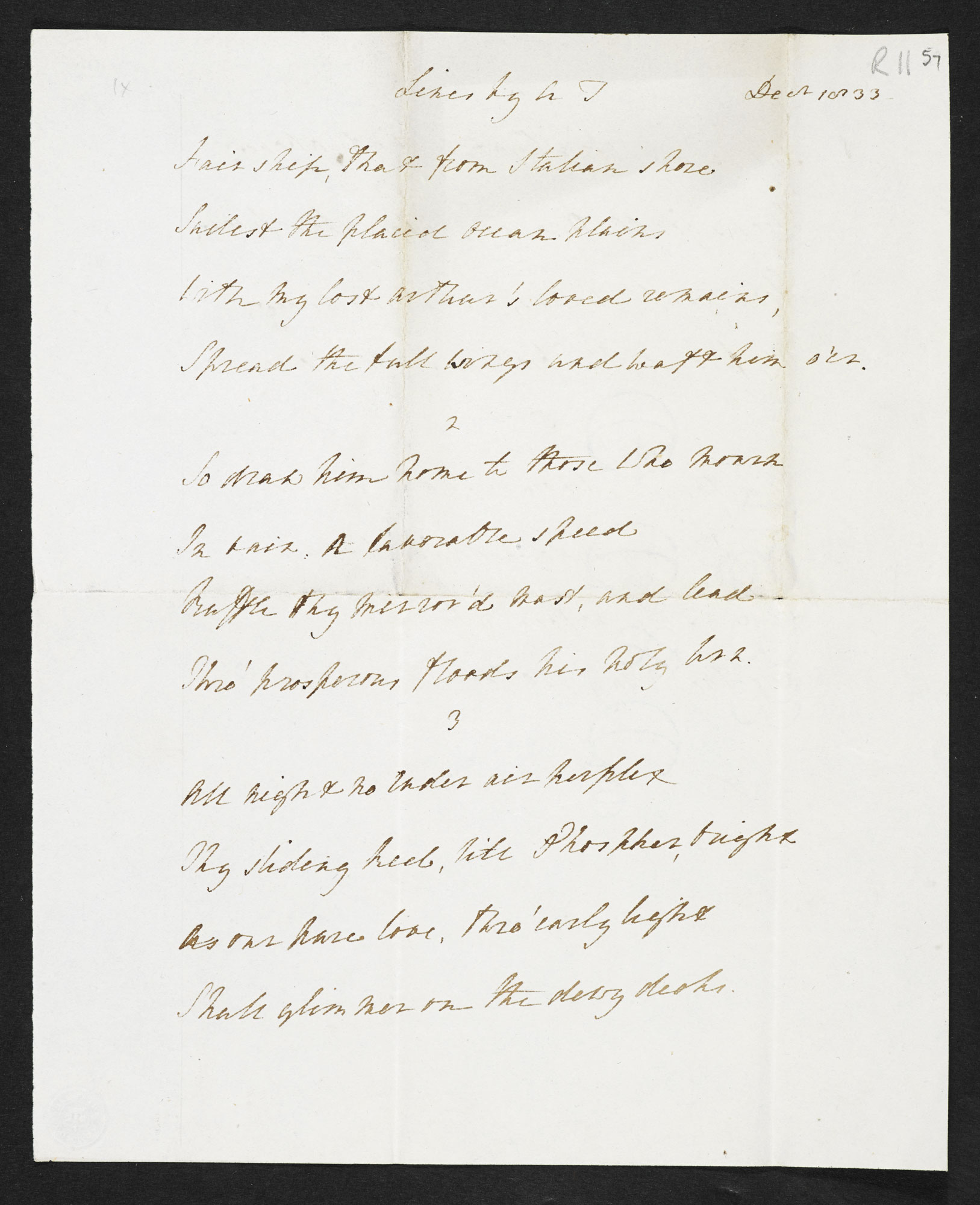 The papers of Arthur Henry Hallam, including manuscript versions of Tennyson's 'In Memoriam A.H.H.' [folio: 57r]