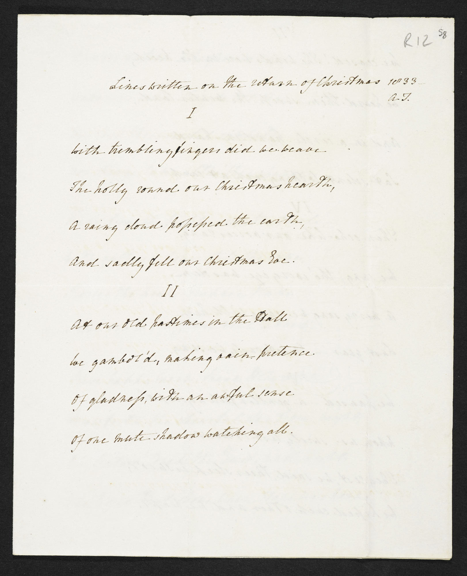 The papers of Arthur Henry Hallam, including manuscript versions of Tennyson's 'In Memoriam A.H.H.' [folio: 58r]
