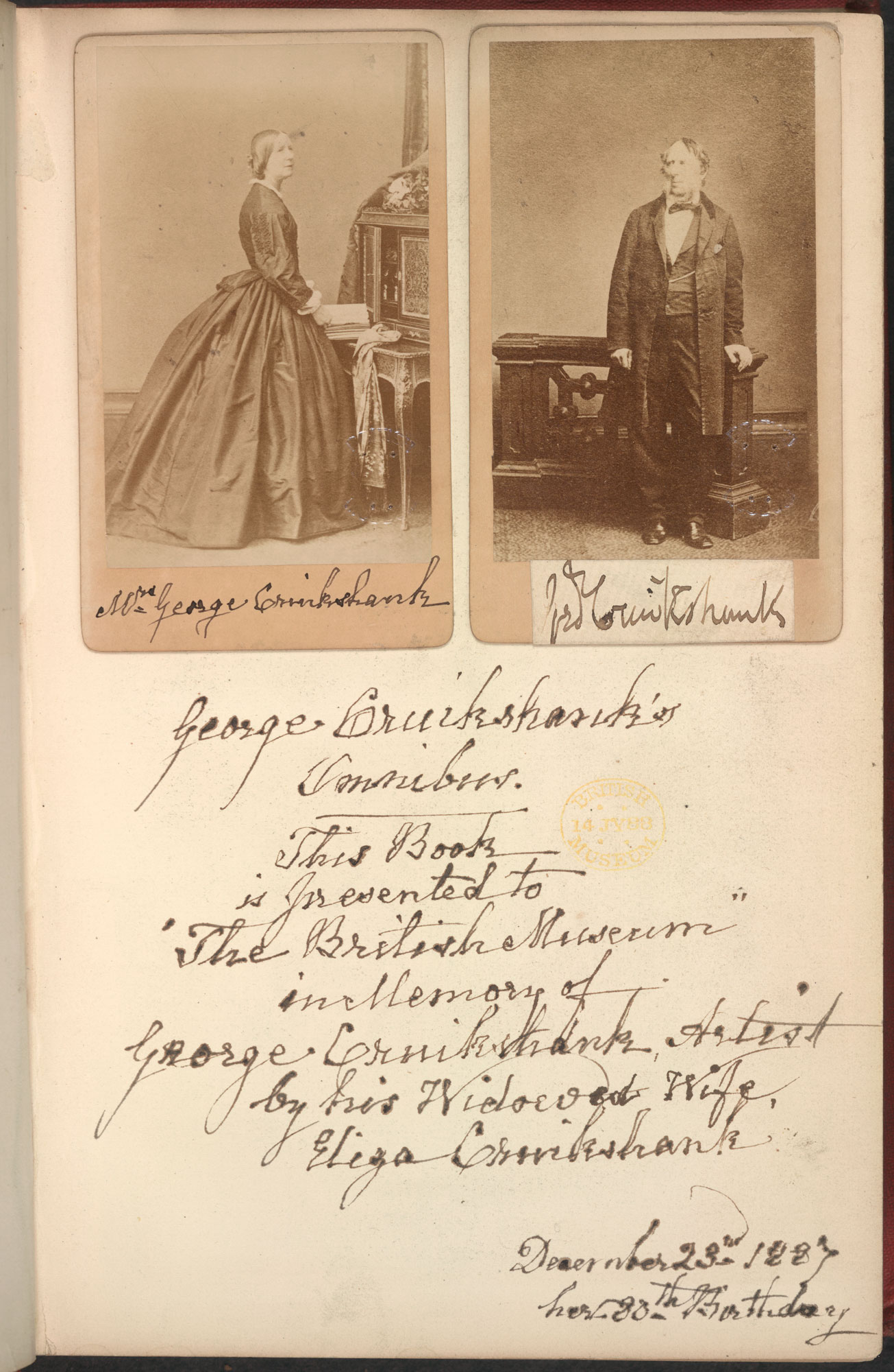 Photograph of George and Eliza Cruikshank [page: fly 2]