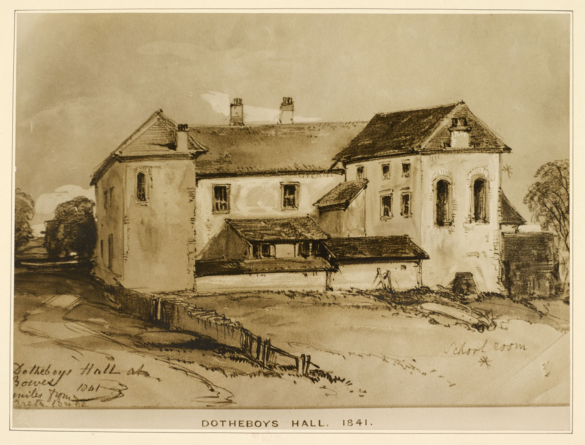 Photographic reproduction of Dotheboys Hall, Bowes, 1841.