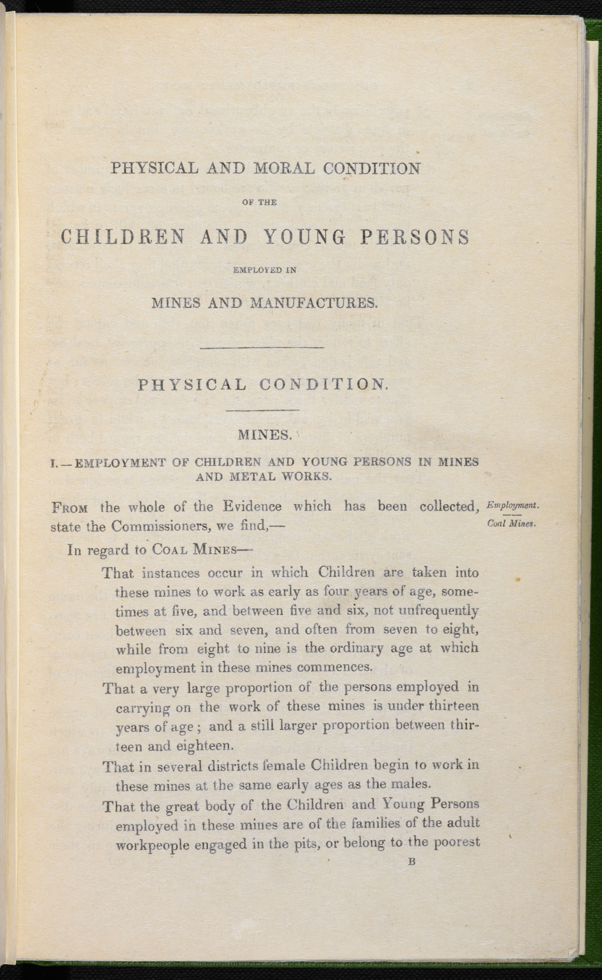 The Physical and Moral Condition of the Children and Young Persons employed in Mines and Manufactures, 1843 [page: [1]]