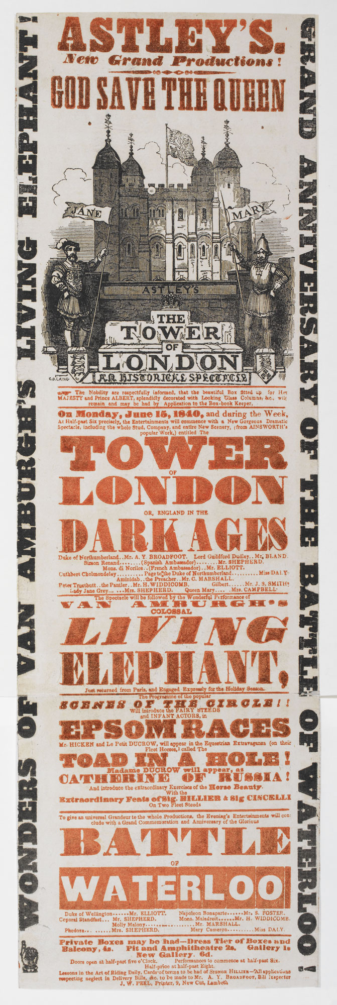 Playbill for Astley's advertising The Tower of London [page: single sheet]