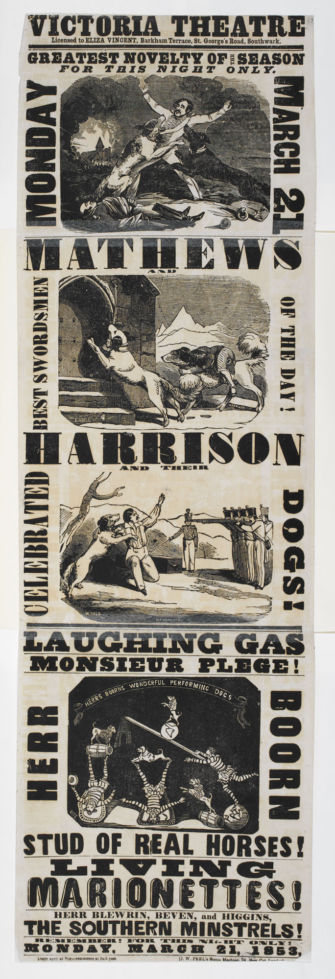 Playbill for the Victoria Theatre advertising Mathews and Harrison and their Celebrated Dogs [page: single sheet]