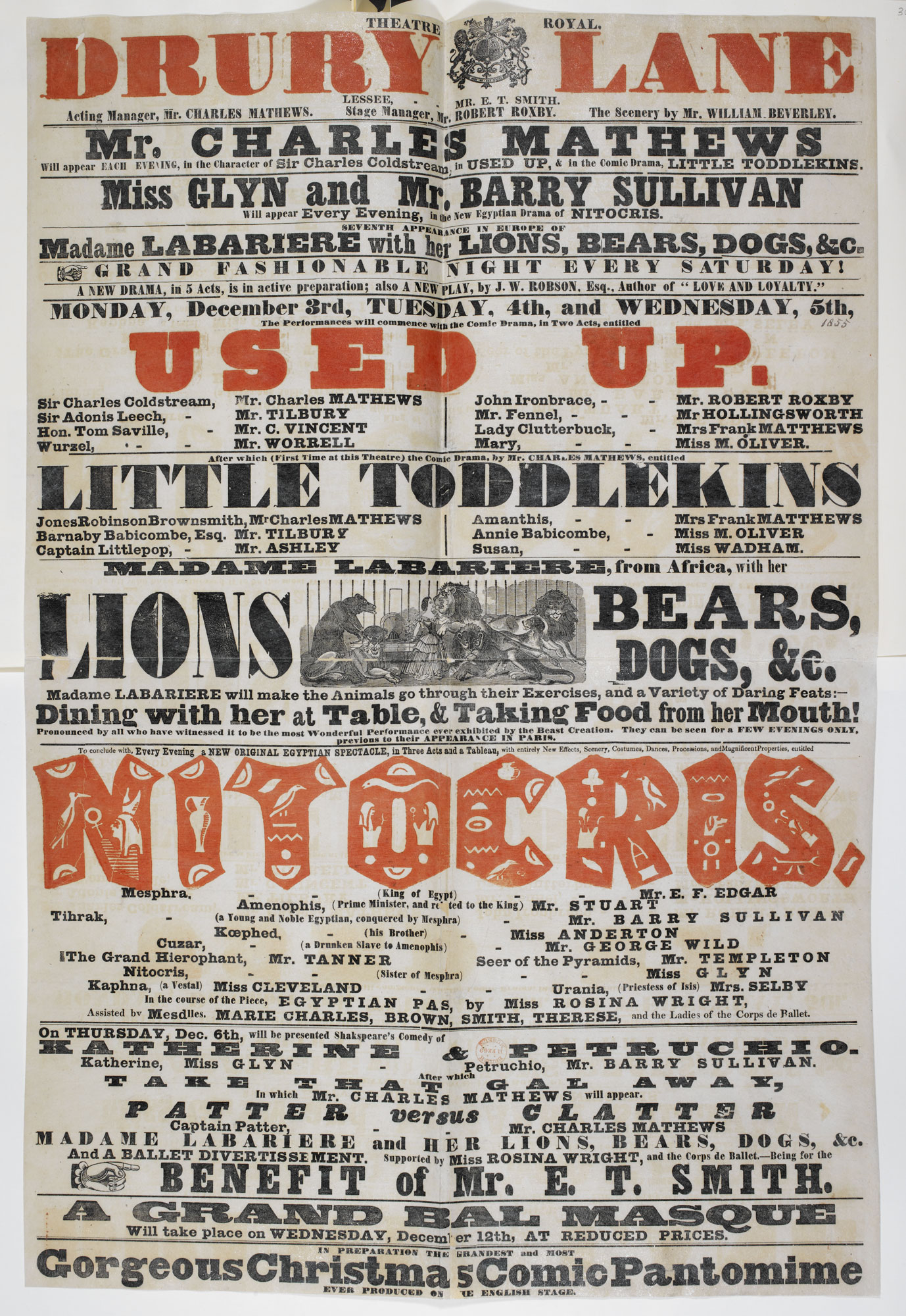 Playbill for the Theatre Royal, Drury Lane, advertising Used Up and performing animals [page: single sheet]