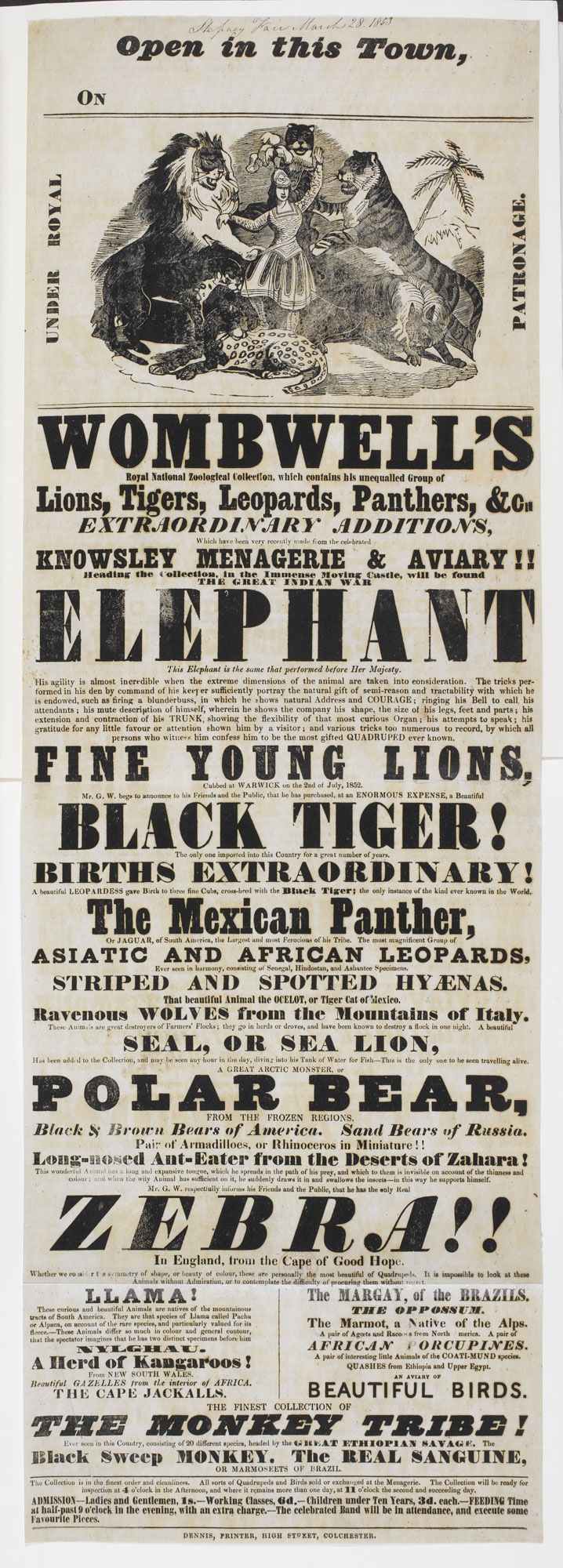 Poster: Wombwell's Royal National Zoological Collection, which contains his unequalled Group of Lions [page: single sheet]