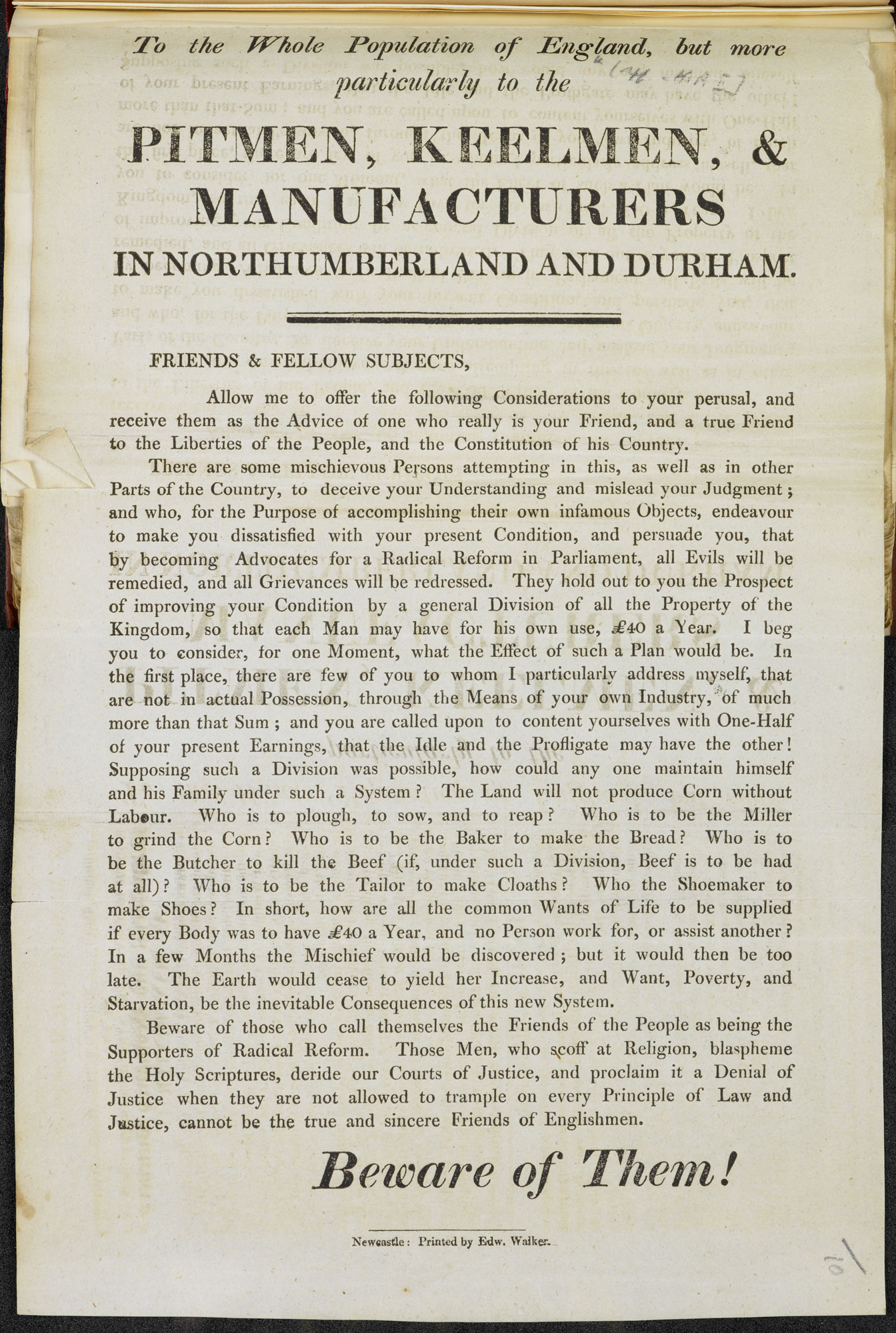 Poster about political reform and radicalism in north England [page: single sheet]
