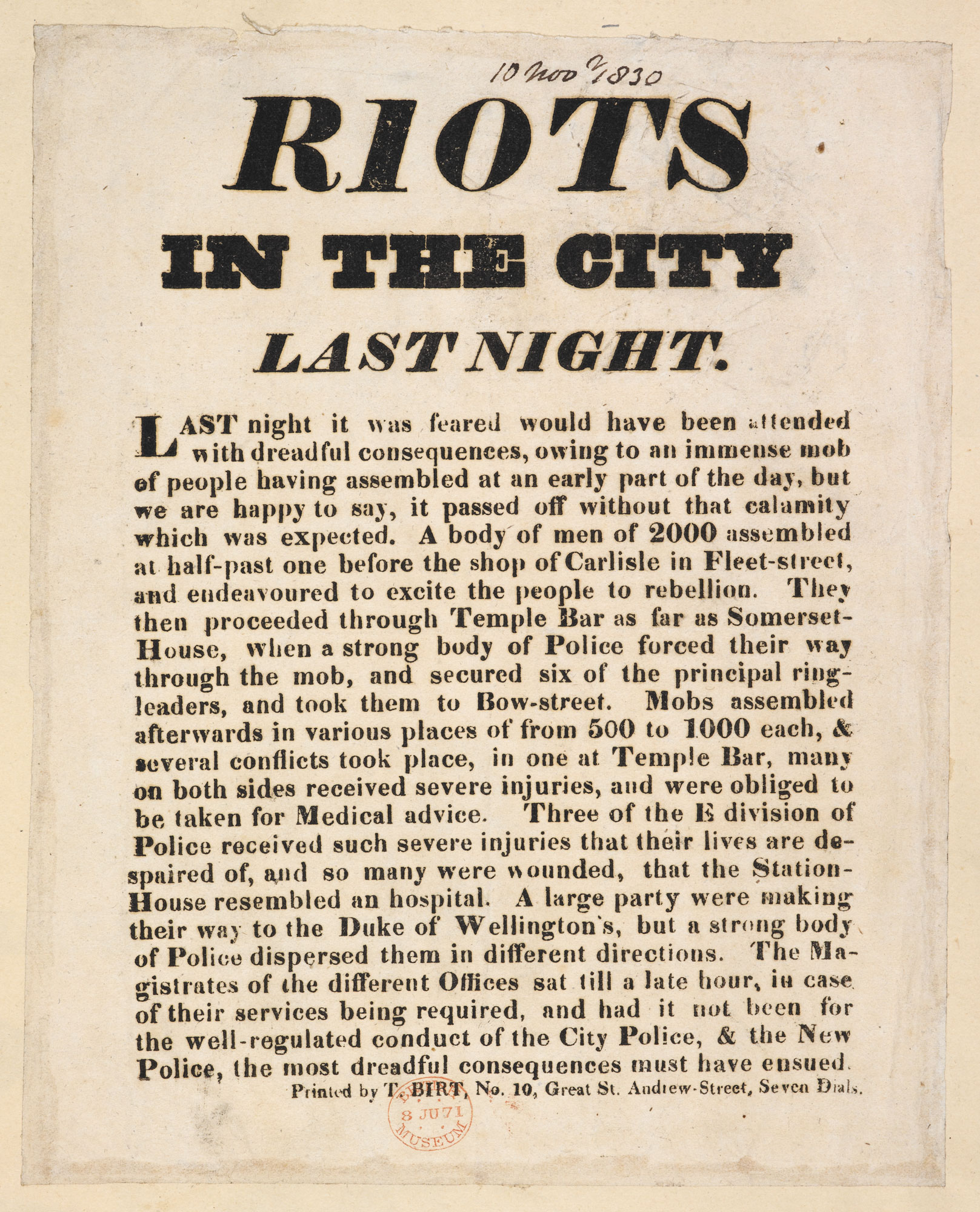 Riots in the City last night [page: single sheet]