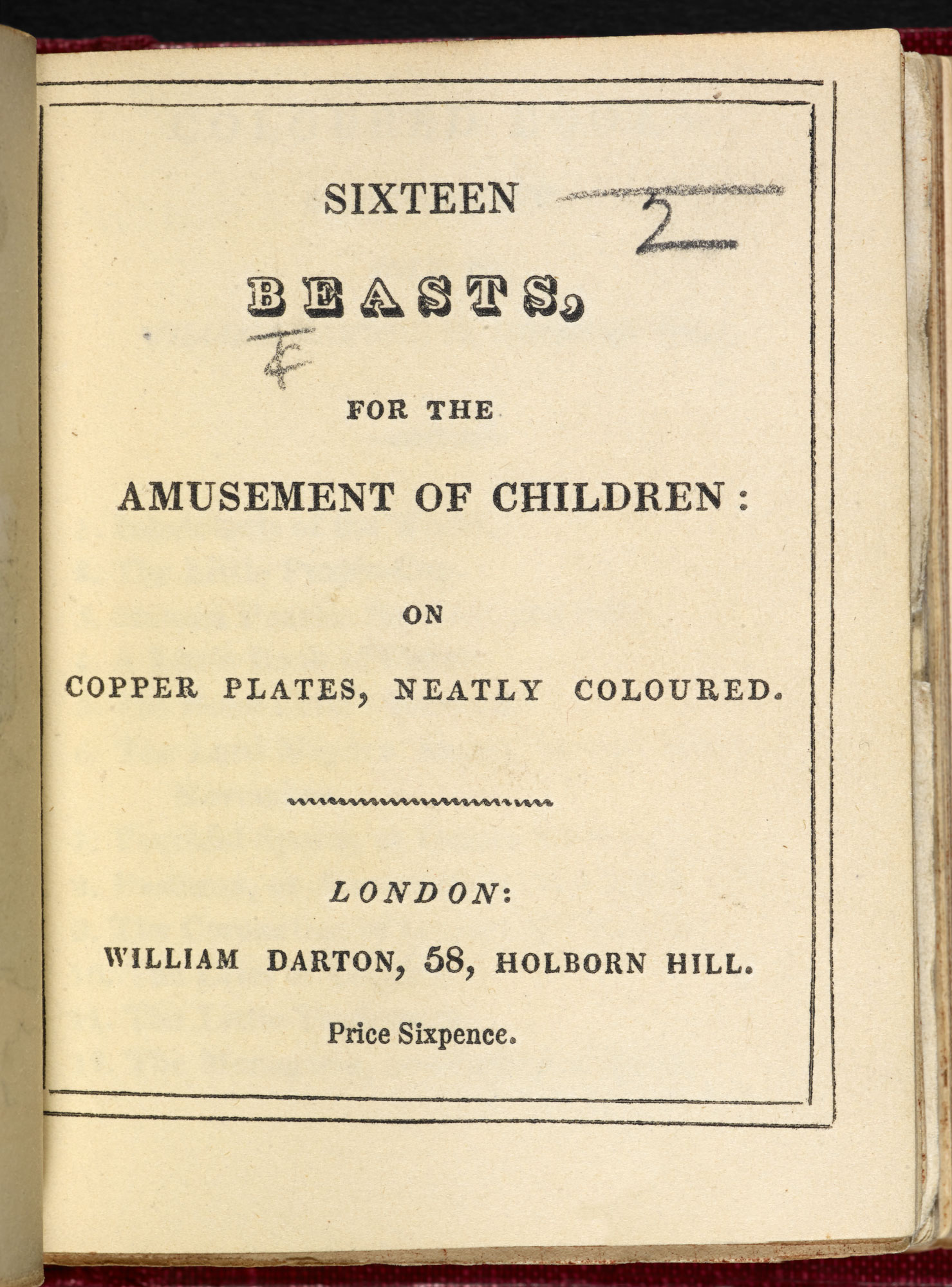 Sixteen beasts, for the amusement of children [page: title page]