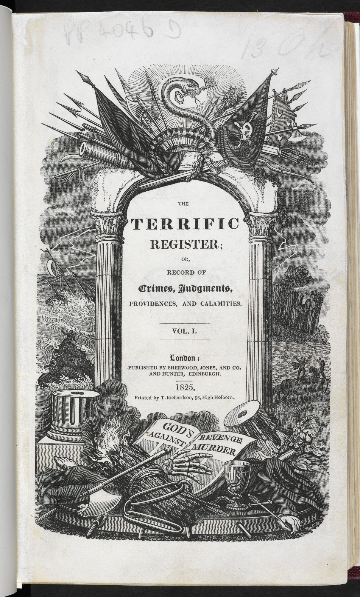 The Terrific Register, or, Record of Crimes, Judgments, Providencies and Calamities.  [page: frontispiece]