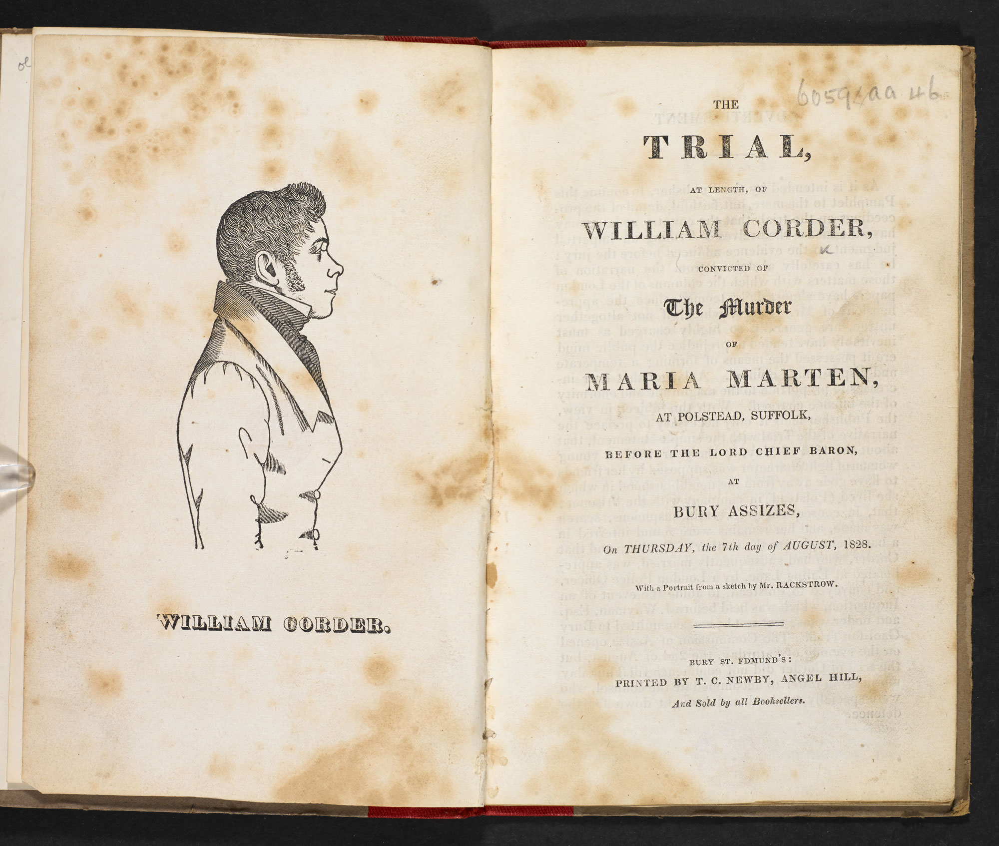 The Trial, at Length, of William Corder, convicted of the Murder of Maria Marten [page: frontispiece and title page]