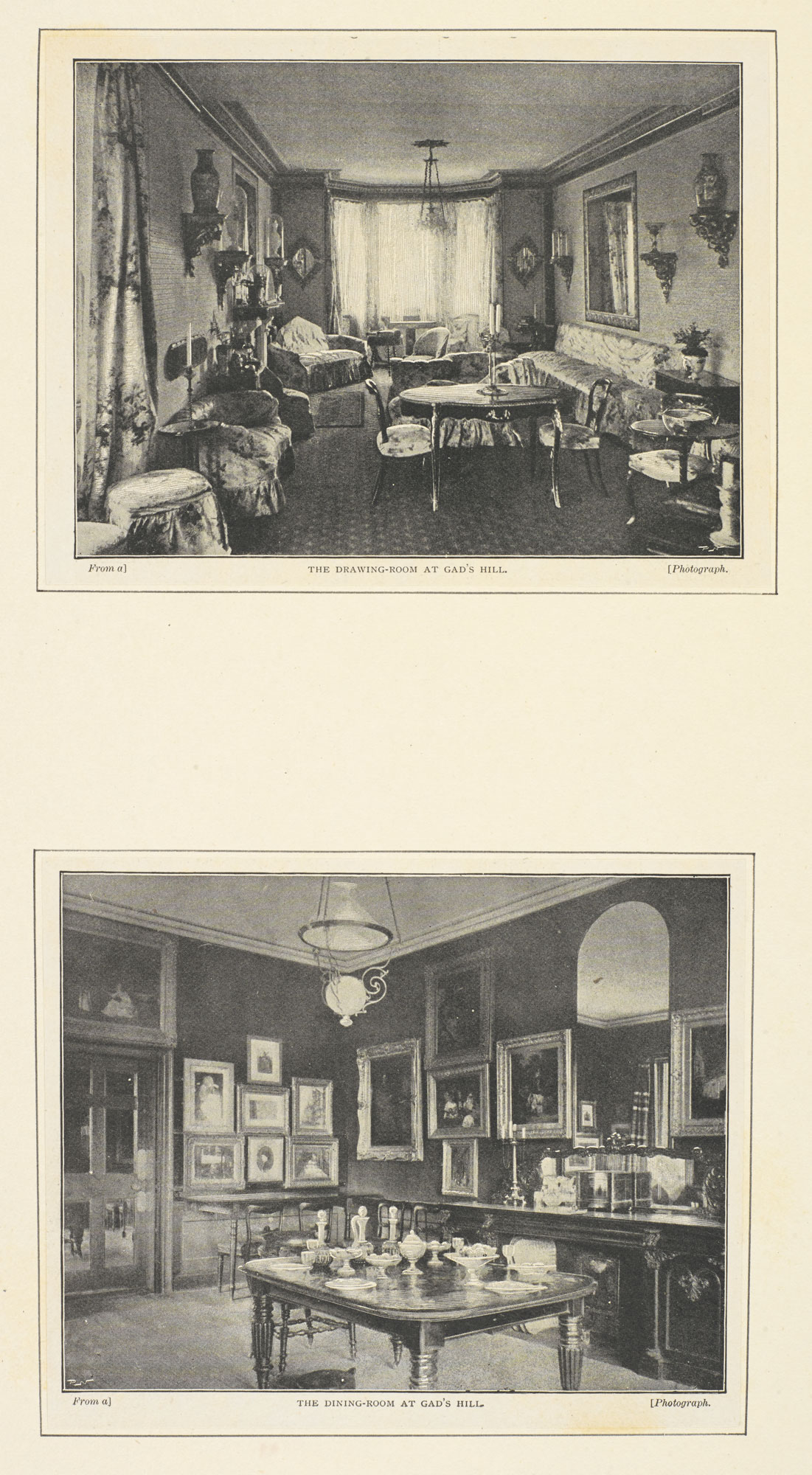 Two photographic prints of Gad's Hill, Dickens' home