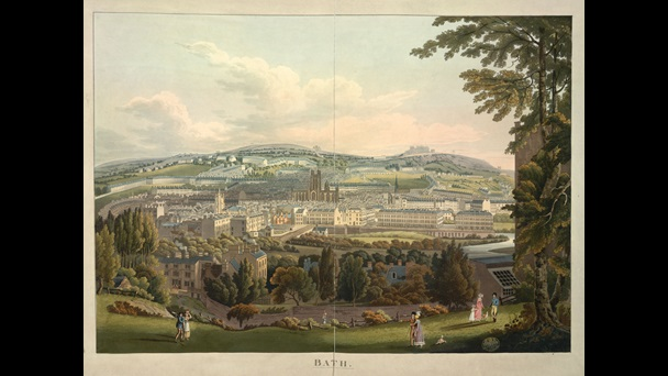 Colour print depicting the buildings of Bath and surrounding countryside, seen from outside the city on top of a hill