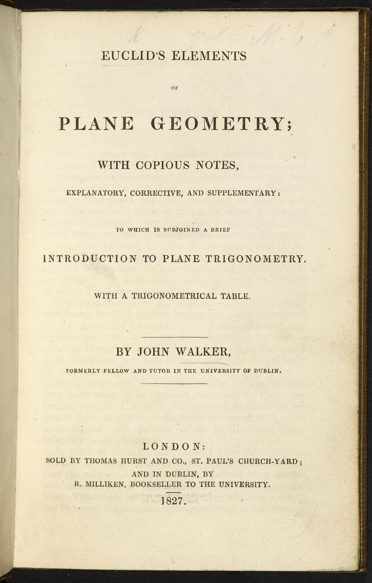 Euclid's Elements of Plane Geometry [page: title page]