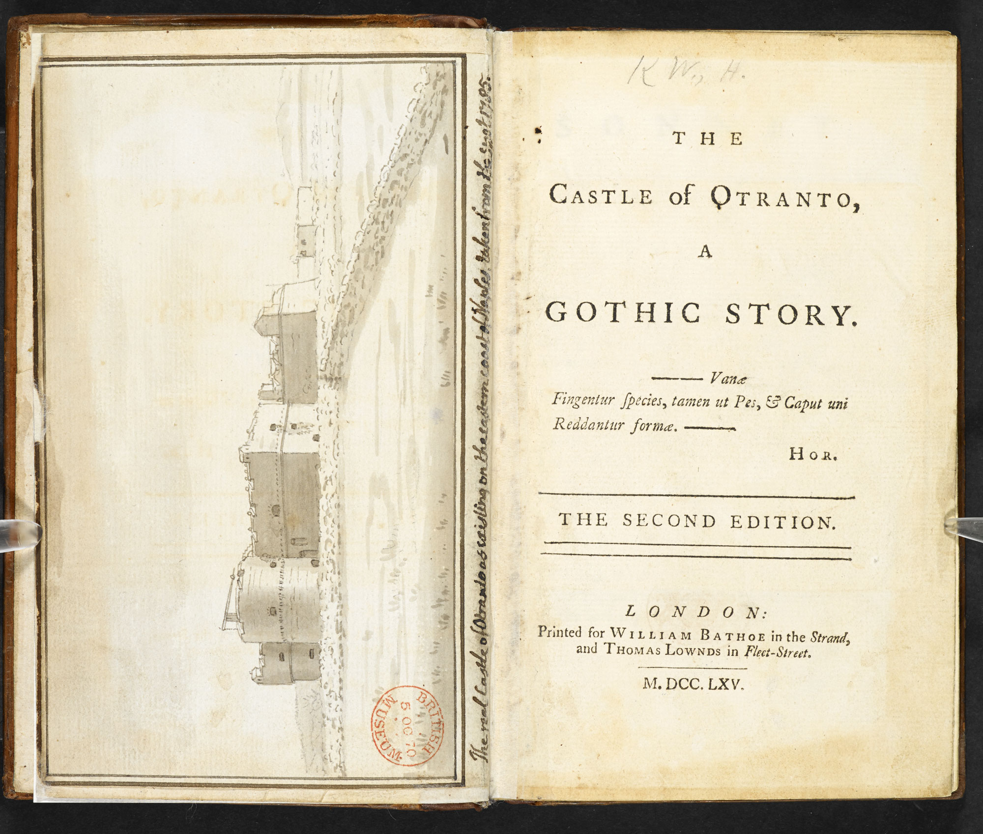 Gothic novel The Castle of Otranto, by Horace Walpole, with a watercolour drawing