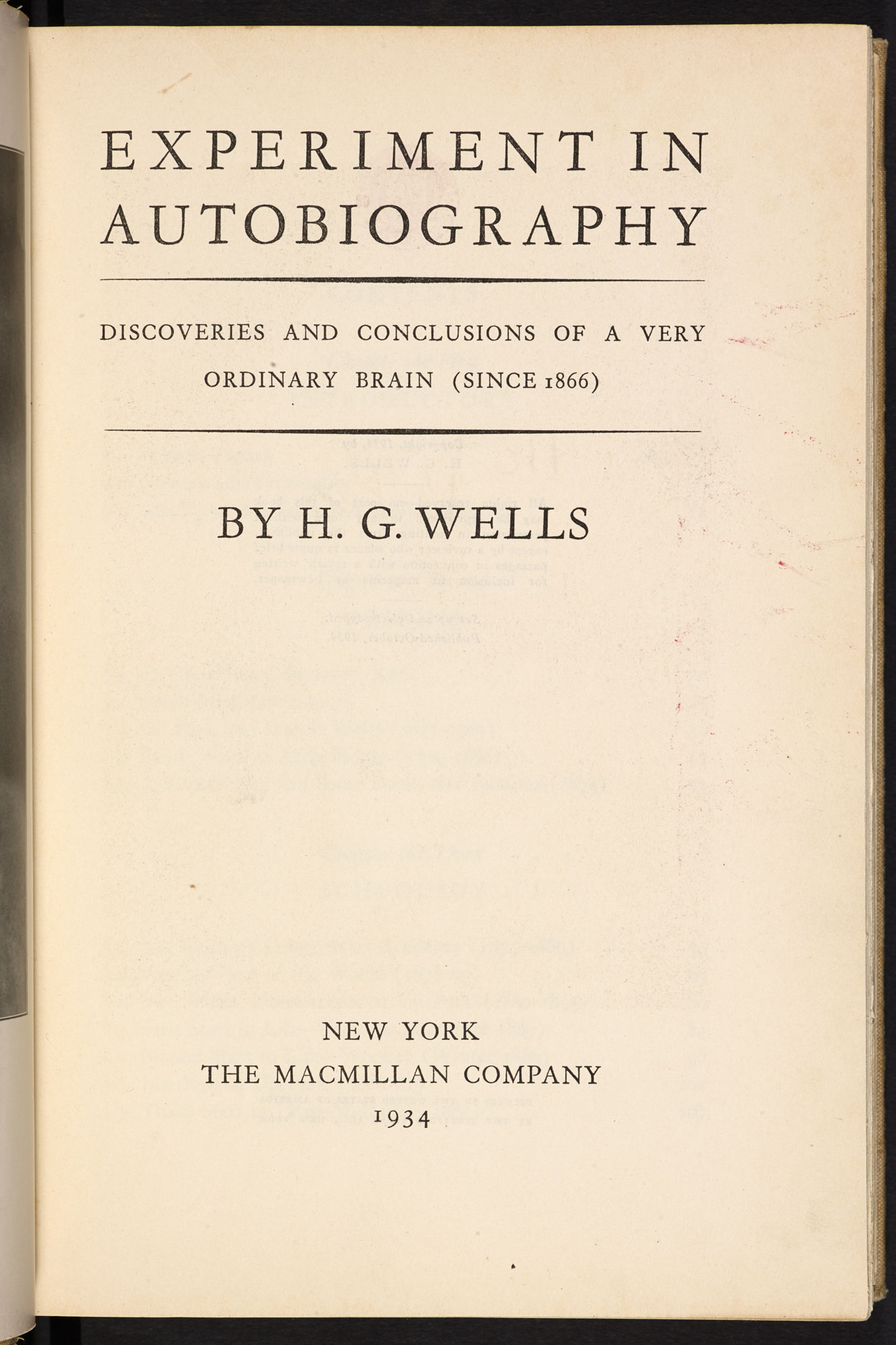H G Wells, An Experiment in Autobiography [page: title page]