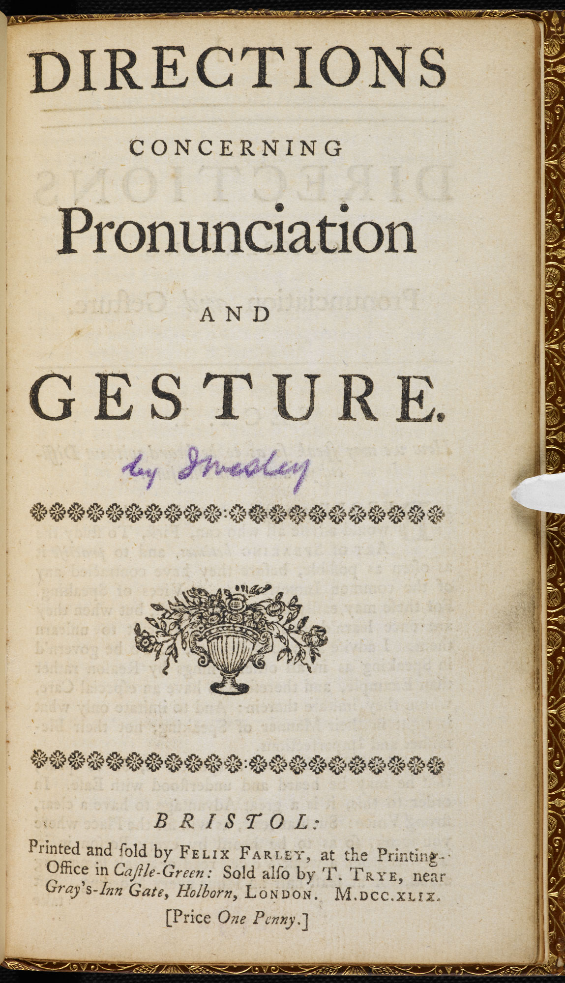 Directions Concerning Pronunciation and Gesture [page: frontispiece]