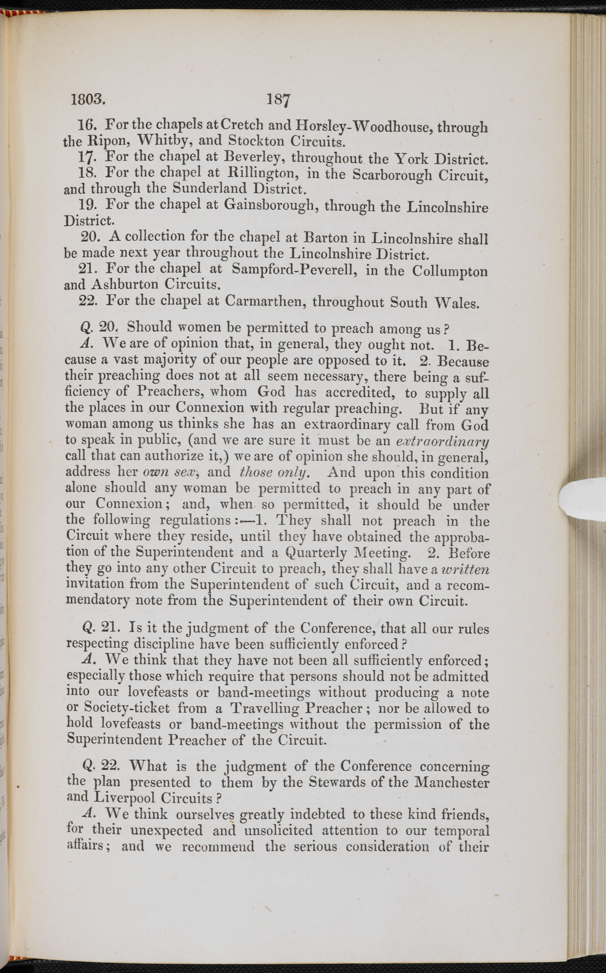 Minutes of the 1803 Methodist Conference [page: vol. II p. 187]