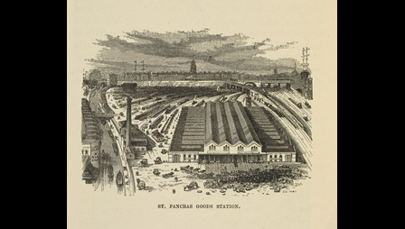 Illustration depicting an overhead view of St Pancras Goods Station, showing parcels outside the station and train tracks in the background