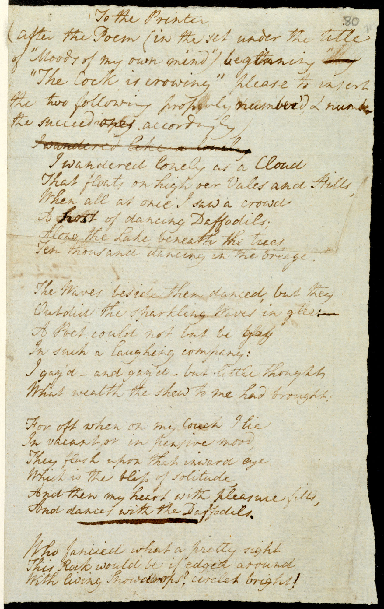 Printer's manuscript of William Wordsworth's Poems, in Two Volumes, 1807 [folio: 80r]