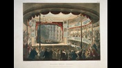 Colour illustration depicting the Sadler's Wells Theatre interior during a performance showing a full audience in attendance.