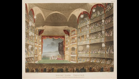 Early 19th century colour illustration of Drury Lane Theatre, depicting a peformance on stage and stalls full of people
