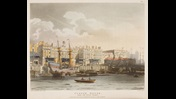 Illustration of Custom House, from the River Thames