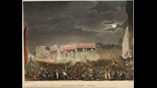Colour illustration depicting Bartholomew Fair at night, packed with crowds of people, fair ground rides and other entertainments